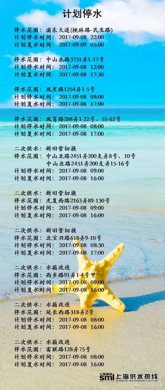 2017年9月8日上海停水通知及停水路段