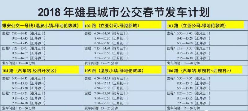 2018春节保定雄县公交绕行路线+时间