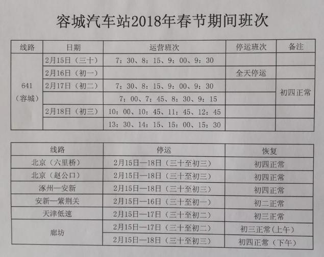2018保定容城汽车站春节期间发车时间