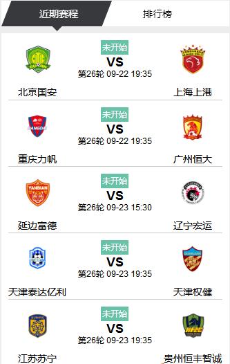 2017北京国安中超联赛赛程