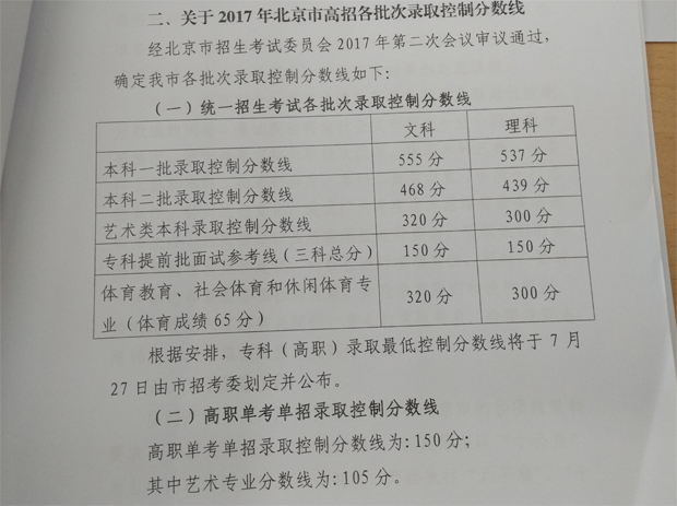 2017年北京高考各科目平均分数公布