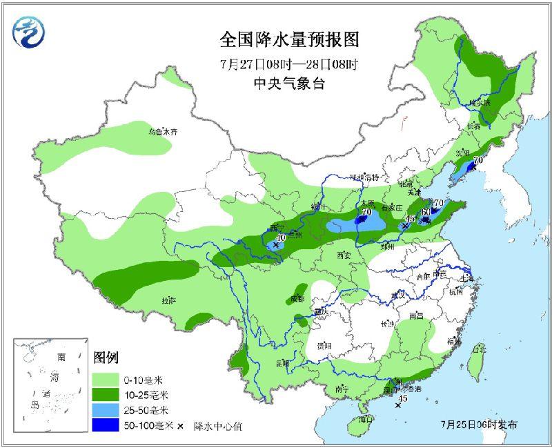2017年7月25日未来三天全国天气预报 华北海南等地有较强降雨 江南