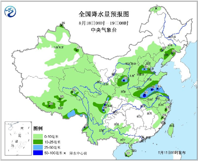 2017年8月18日未来三天全国天气预报:黄淮江