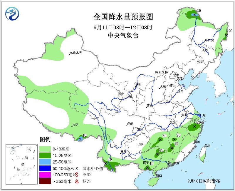 2017年9月10日未来三天全国天气预报:黄淮、湖南等地仍有较强降