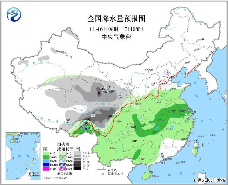 11月5日未来三天全国天气预报:青藏高原东部等地有中到大雪