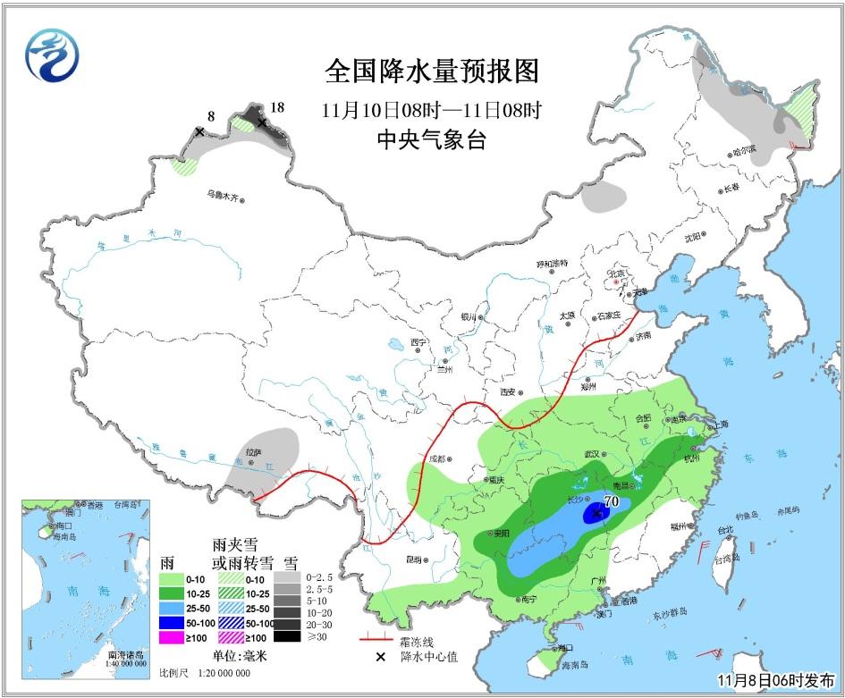11月8日未来三天全国天气预报:东北地区有明显雨雪天气