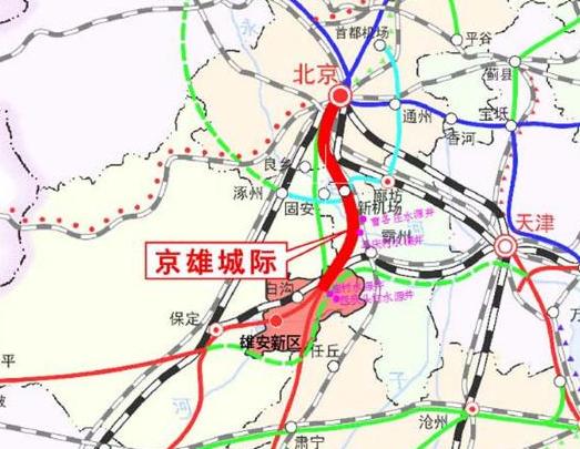 京雄城际铁路北接北京西站,南接规划中的雄商(雄安-商丘)铁路,并与