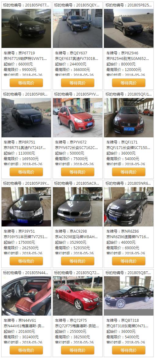 2018第一期涉案京牌小客车竞拍时间入口及68辆小客车车型及价格