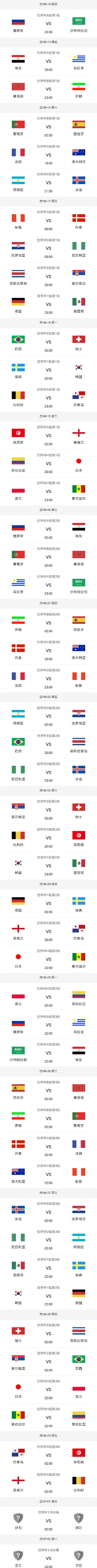 最新2018俄罗斯世界杯赛程时间表及分组对阵表
