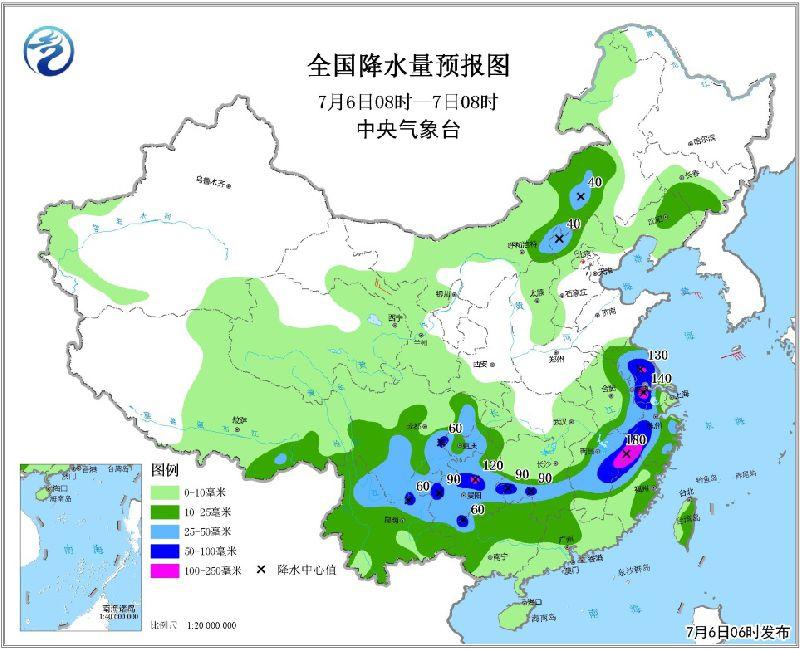 2018年7月6日未来三天全国天气预报:江淮江南贵州等地有强降雨  内蒙古华北中北部等地将有中到大雨