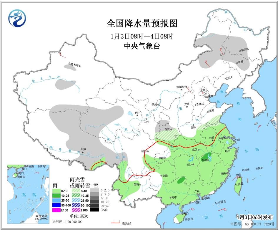 1月3日未来三天全国天气预报:华北黄淮汾渭平原等地有中至重度霾