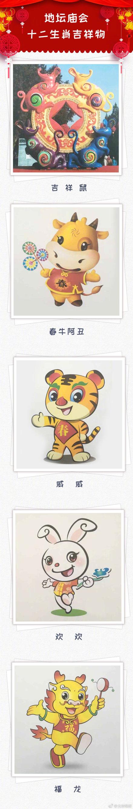 2O19年地坛春节文化庙会十二生肖吉祥物公布