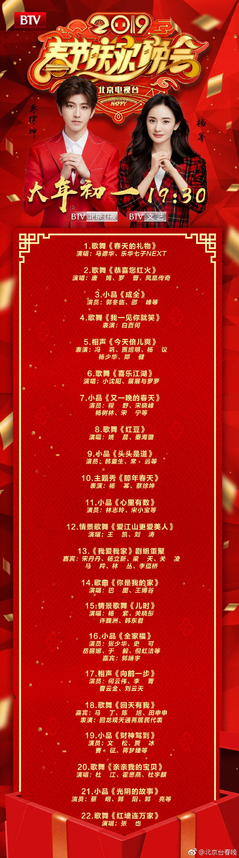 2019北京衛視春晚節目單(官宣版)圖片