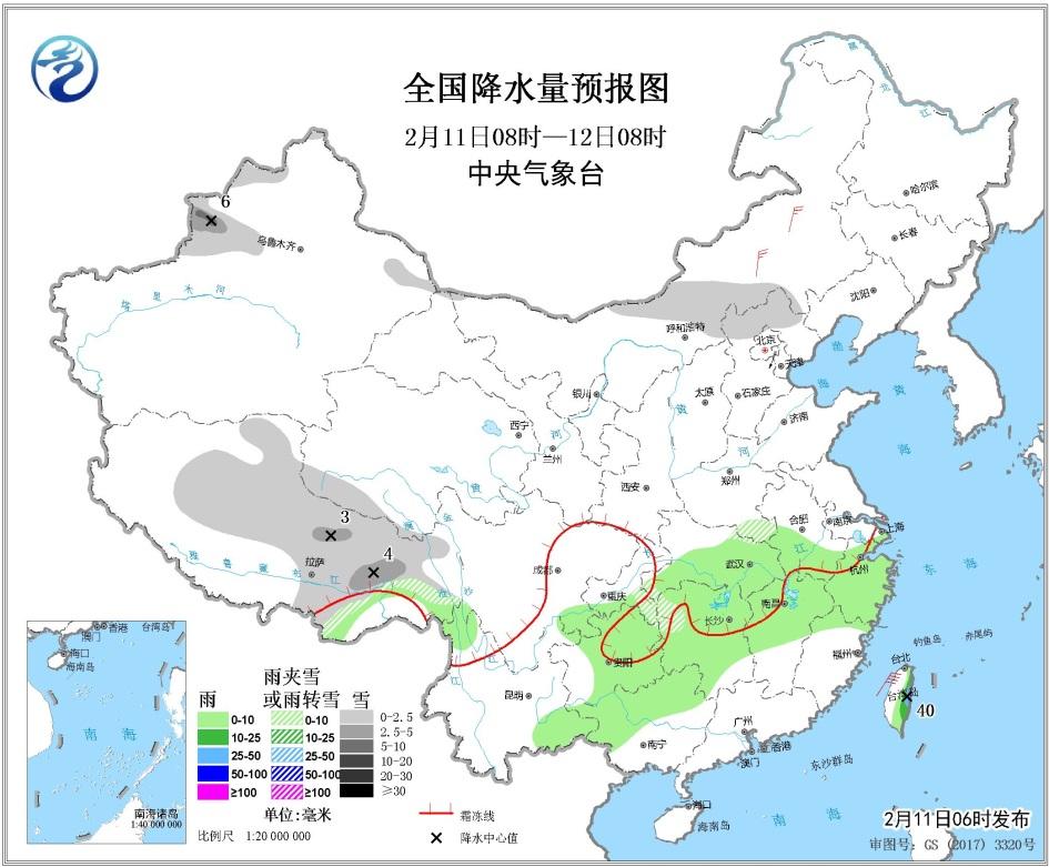 2月11日未来三天全国天气预报:西北地区华北有降雪