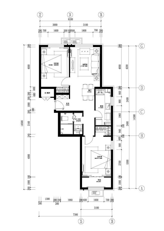 d户型:两室两厅一卫(约88平方米)