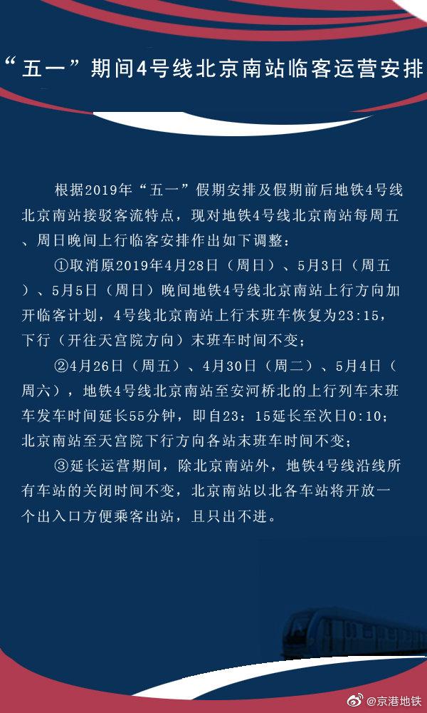 2019五一期间地铁4号线北京南站晚间临客运营安排