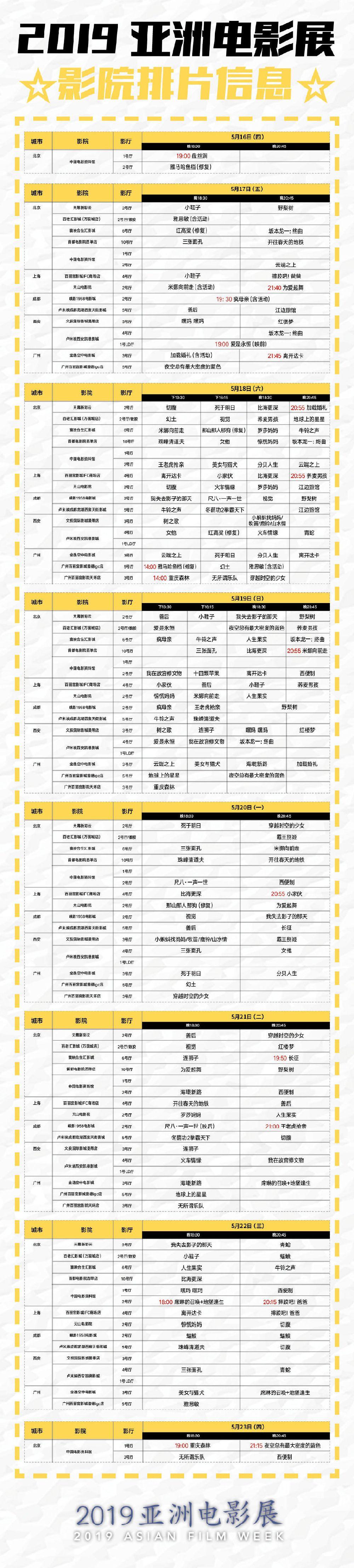 2019亚洲电影展排片表(时间 影院)