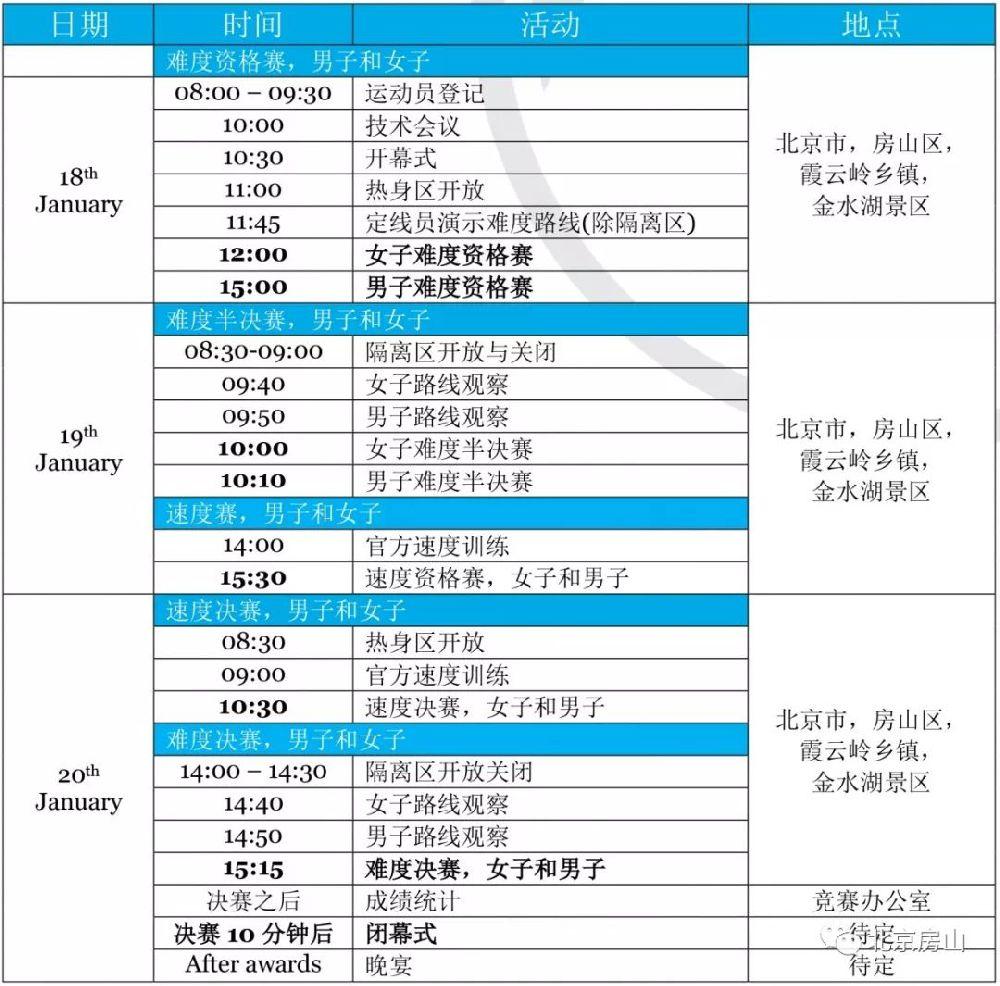 2019北京金水湖国际攀冰比赛时间及活动安排一览