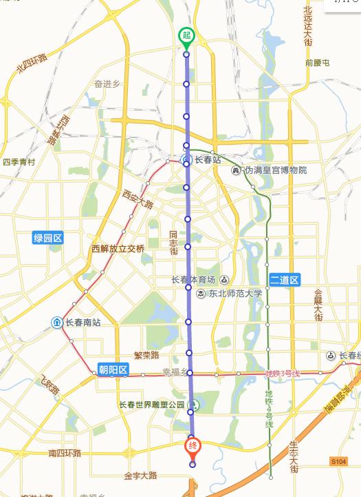 长春地铁一号线线路图