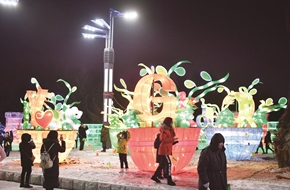 长春公园的彩灯吸引了众多游人。 张扬 摄