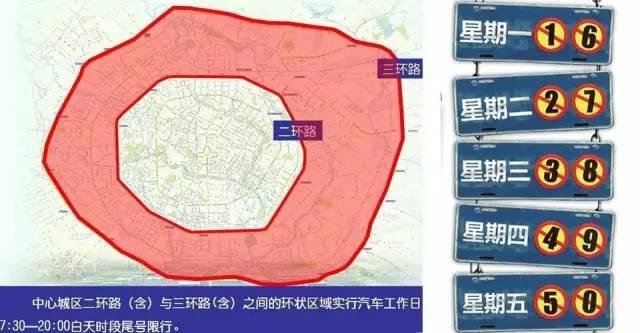 2018成都限行区域图(最新版)