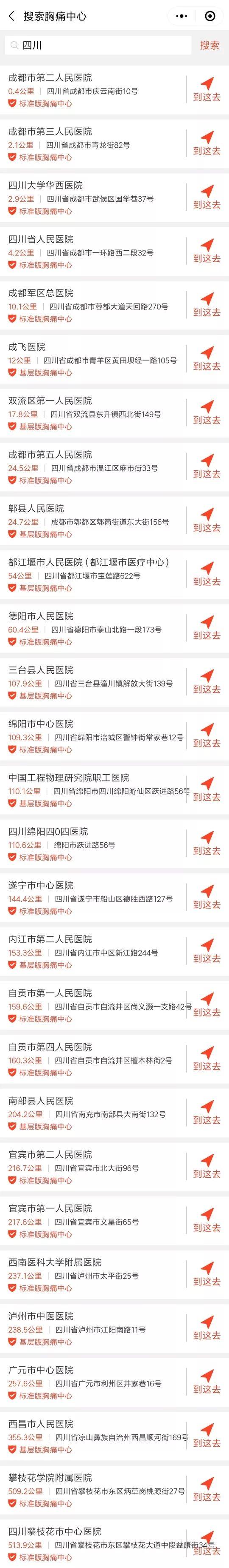 中国胸痛中心急救地图出炉 四川华西医院等28家在列附名单