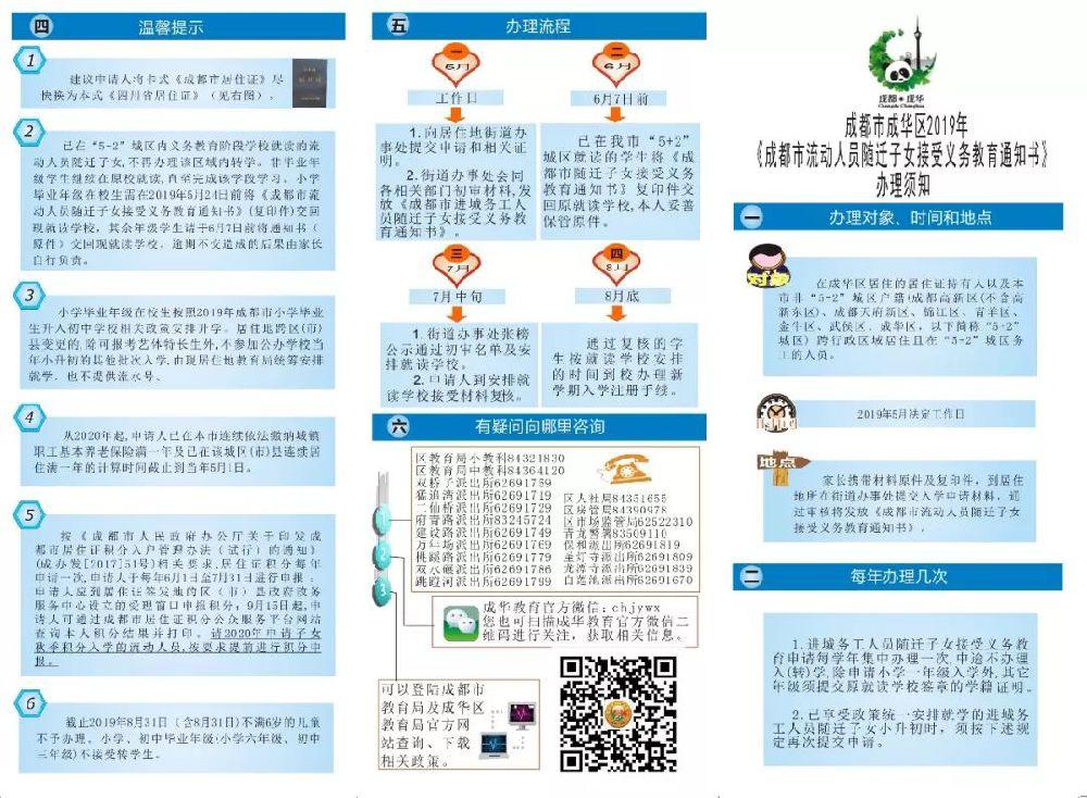 2019成都成华区小学初中积分入学办理指南(材料+流程)