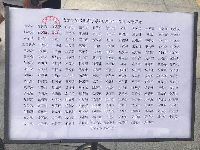 2018成都高新区锦晖全国录取小学中小学生武术健身操名单图片