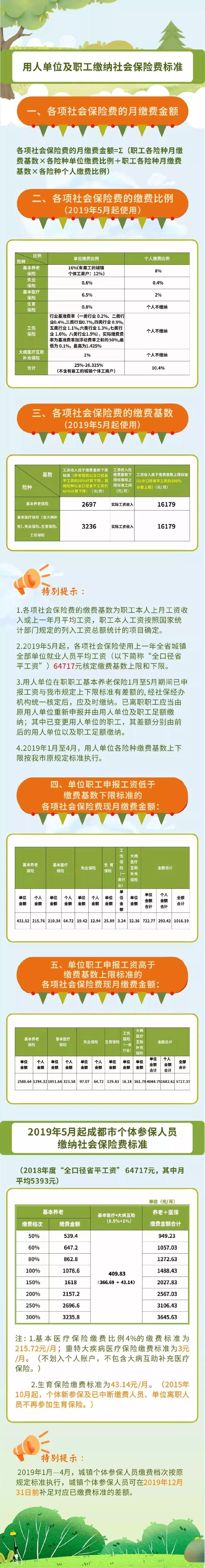 2019成都社保缴费标准(单位 个人)