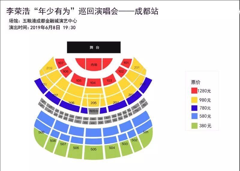 2019年李荣浩年少有为巡演成都站票价