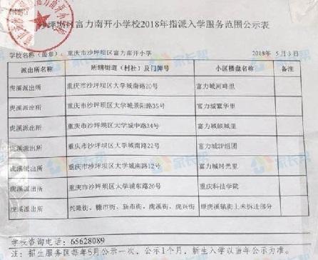 2017年重庆沙坪坝小学划片招生范围一览