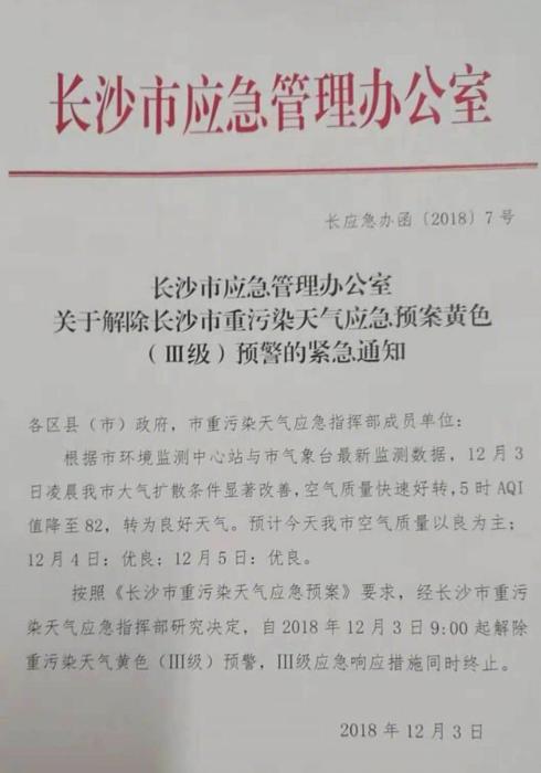 12月3日长沙解除霾黄色预警