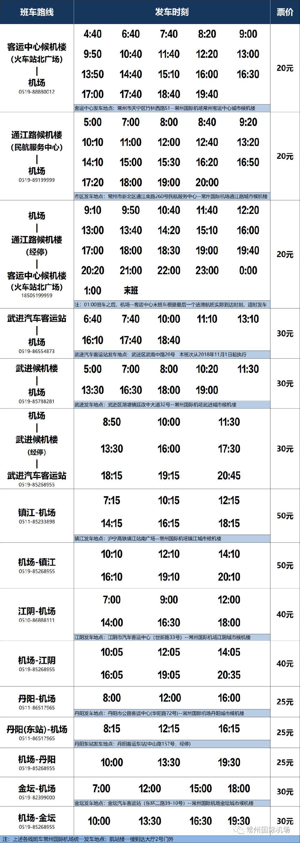 2018常州国际机场大巴时刻表