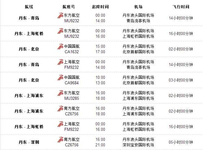 航班时刻表