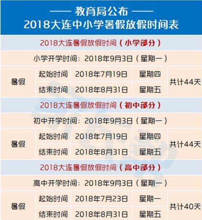 2018大连中小学暑假放假时间表