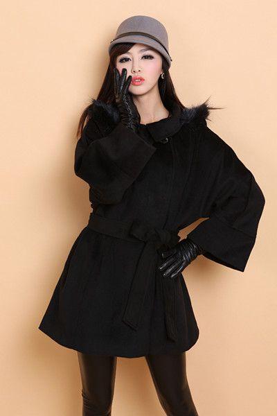 宽松毛衣系带大衣