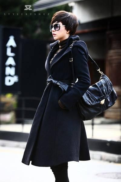 超帅黑色百搭大衣