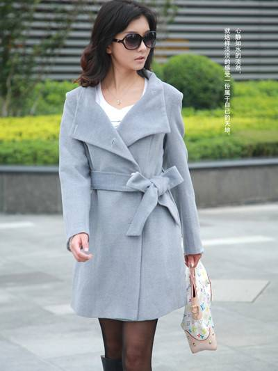 韩版中长款毛呢大衣