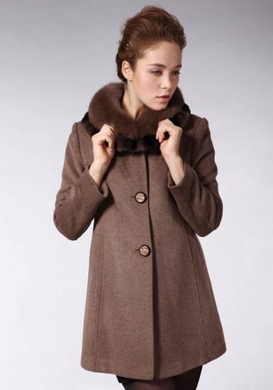 单排扣羊绒大衣