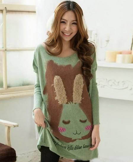 胖mm毛绒兔子长款针织衫