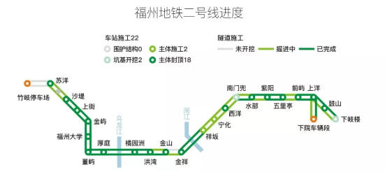 2017福州地铁二号线线路图(站点+开通时间)