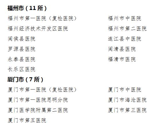 2019年福建高招体检(体检医院 体检时间)