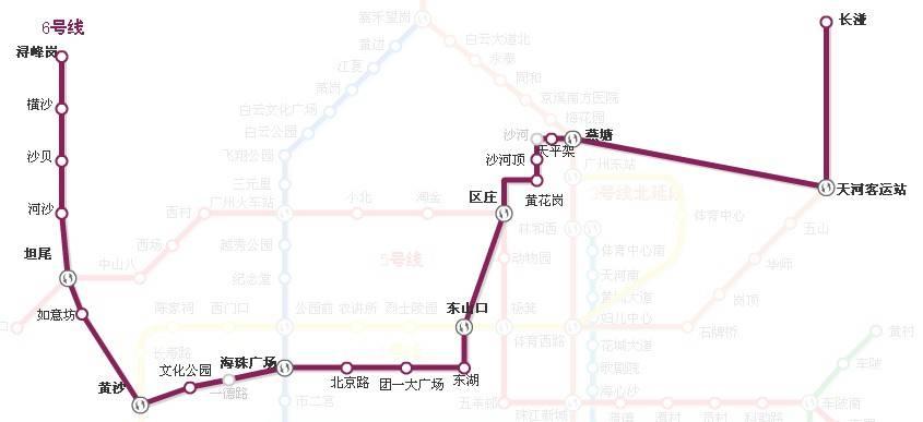 广州地铁二号线北延段的具体线路图,要详细点的图片