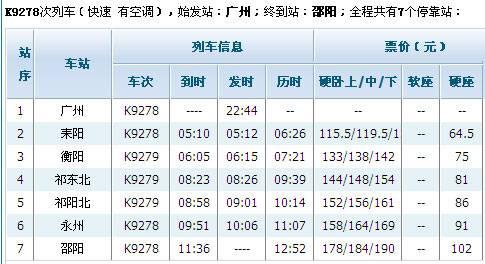 k9278列车时刻表(广州-邵阳火车时刻表)
