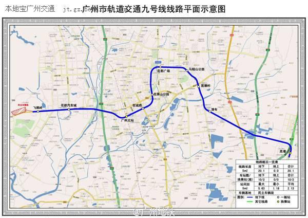 广州地铁9号线线路图