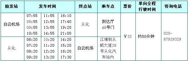 广州白云机场空港快线时刻表(从化)