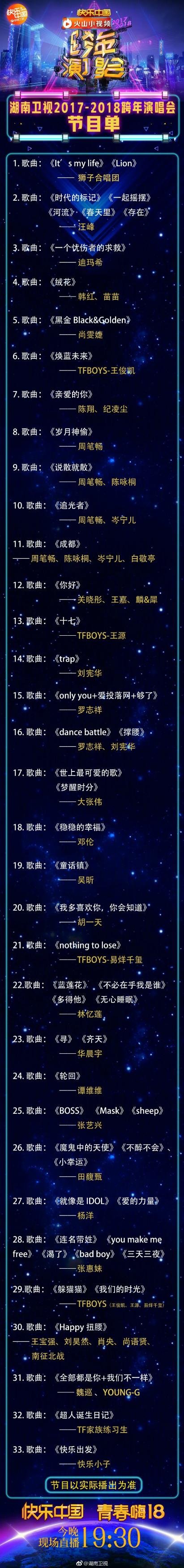 2017-2018年湖南卫视跨年演唱会节目单