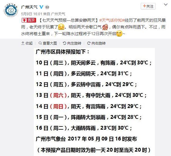 5月10日起广东降水减弱 13日前后全省或将再遇大暴雨