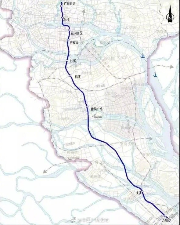 2017年广州地铁18号线最新线路图及站点一览图片
