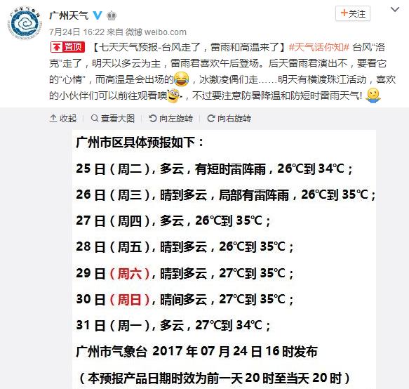 2017年7月25日广州天气预报:白天多云 有短时雷阵